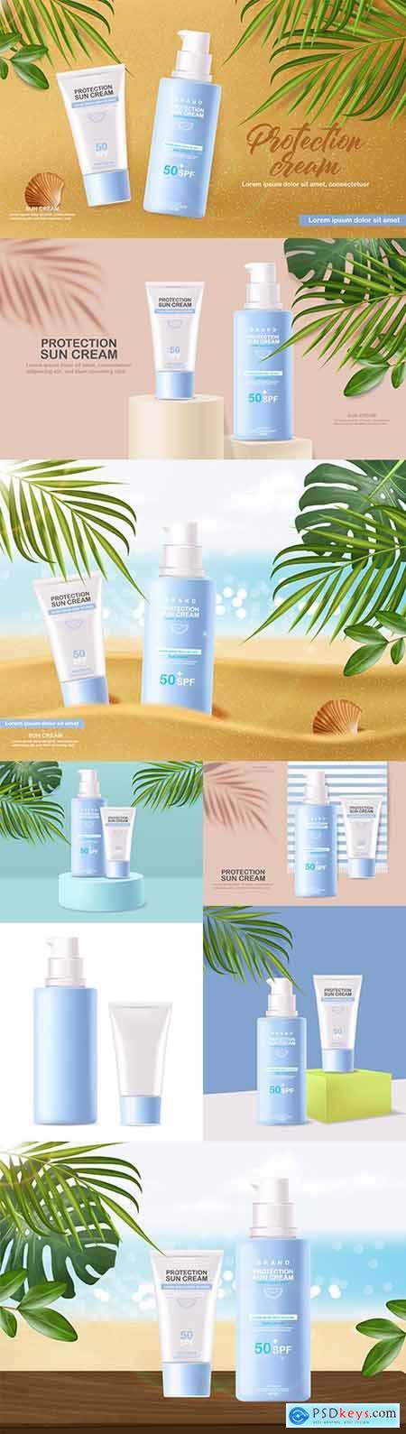 Summer sunscreen cosmetics 3d realistic tropical banner