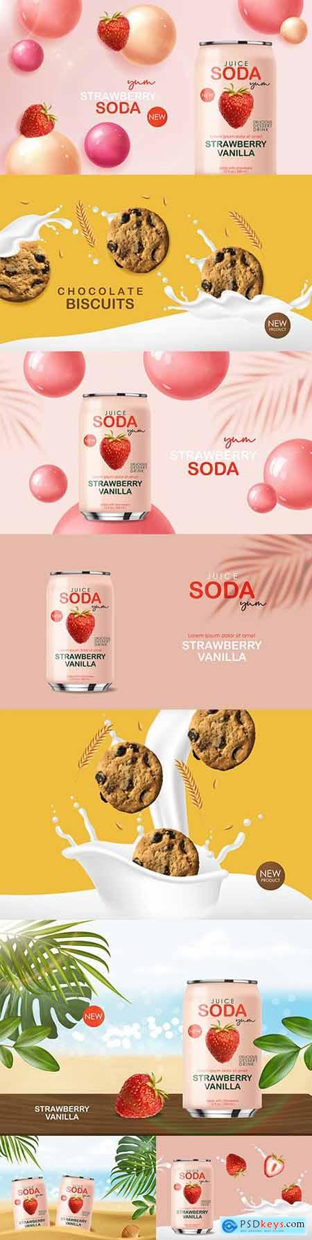 Soda drink with fruit and chocolate cookies 3d realistic design