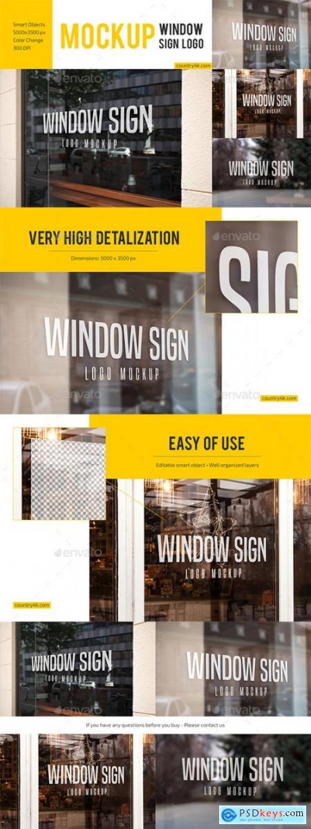 Glass Signage and Window Sign Logo Mockup Bundle 27880989