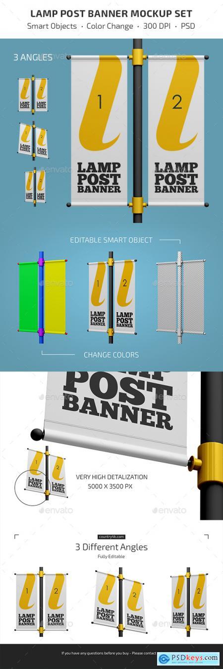Lamp Post Banner Mockup Set 27825437