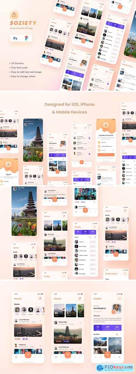 Soziety - Social Network iOS App Design Template