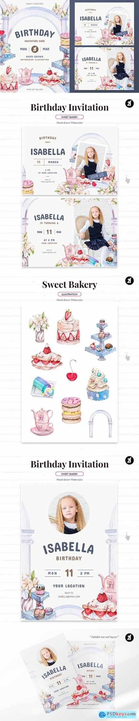 Sweet bakery theme birthday invitation card
