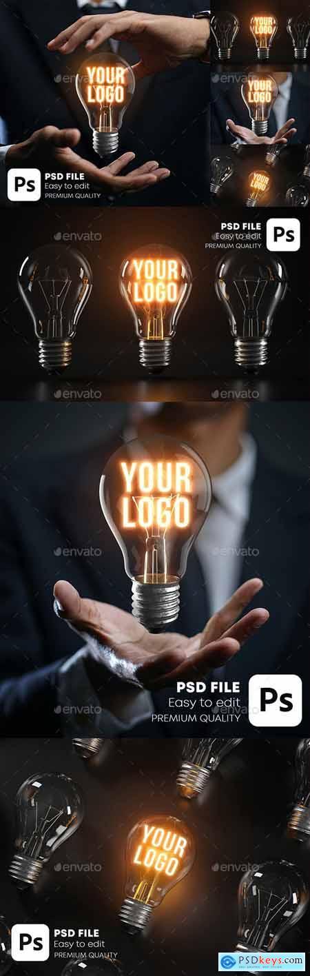 Glowing Bulb Logo Mockup Pack 28404076