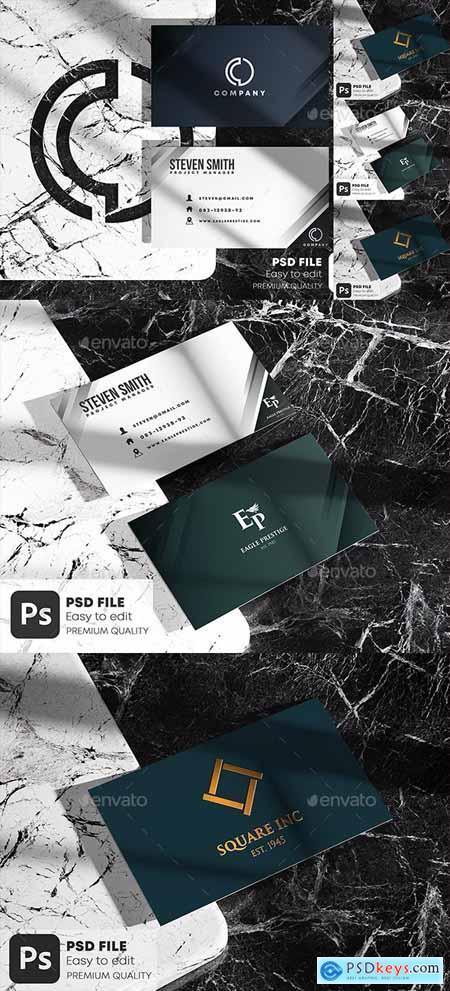 Business Card on Marble Stone Mockup Set 28404056