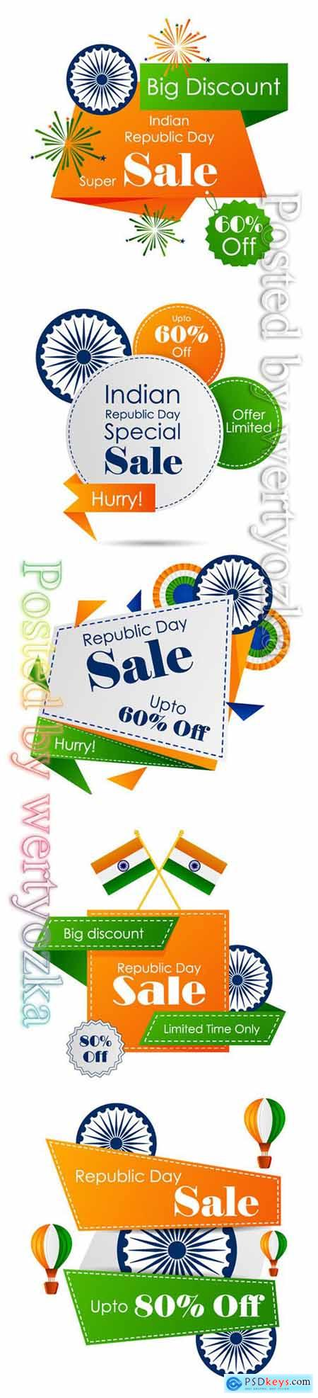 Happy Republic Day of India sale banner template