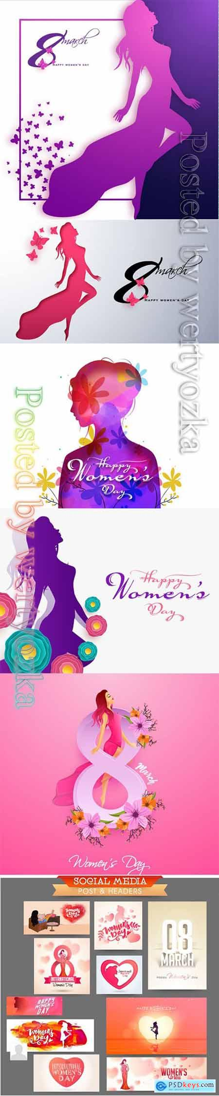 Happy Womens Day greeting card design with beautiful lady