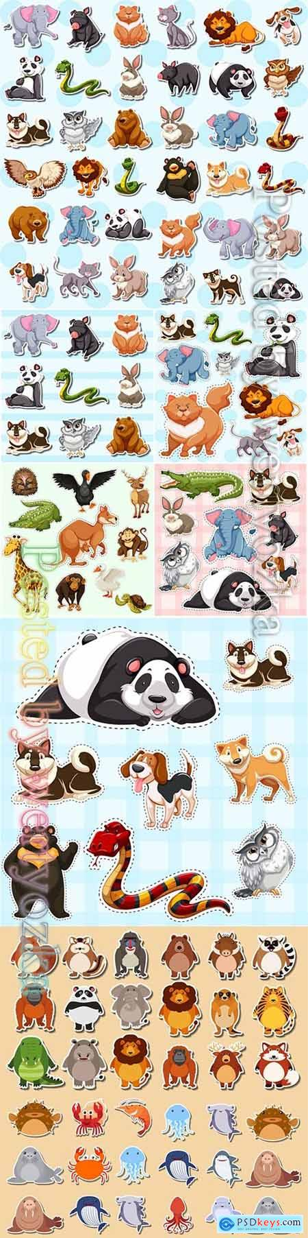 Set of cute animal sticker in vector