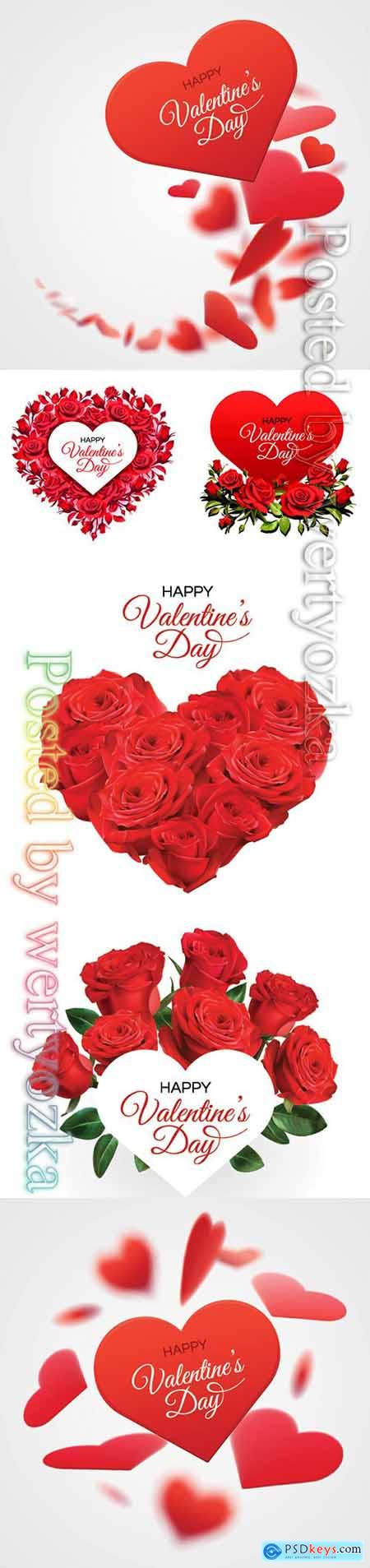 Valentines Day greeting card template, red roses