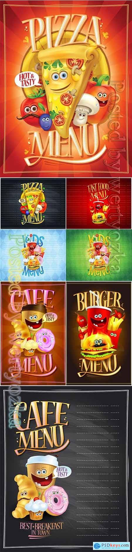 Kids menu list design concept