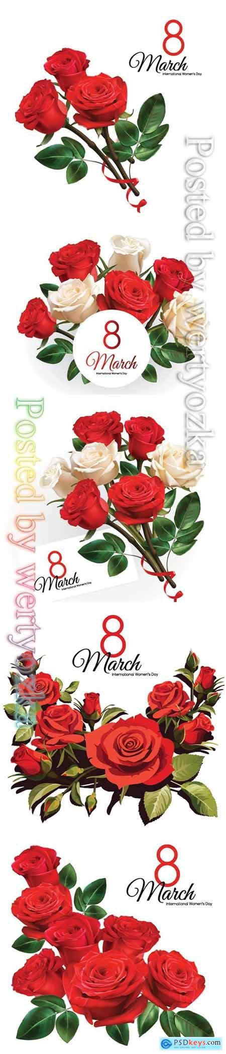 8 March Womens Day greeting card template with red roses