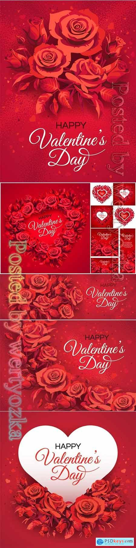 Valentines Day greeting card templates with red roses