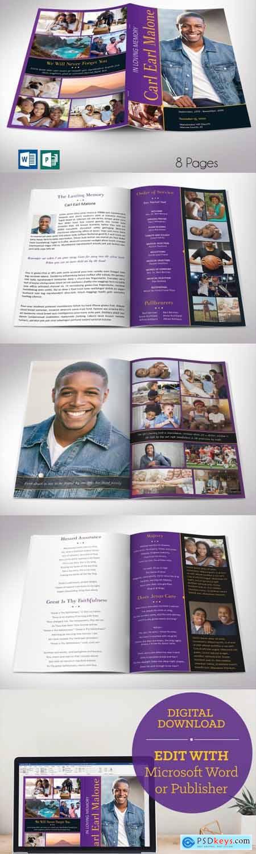 Purple Gold Funeral Program Word 8pg 4856157