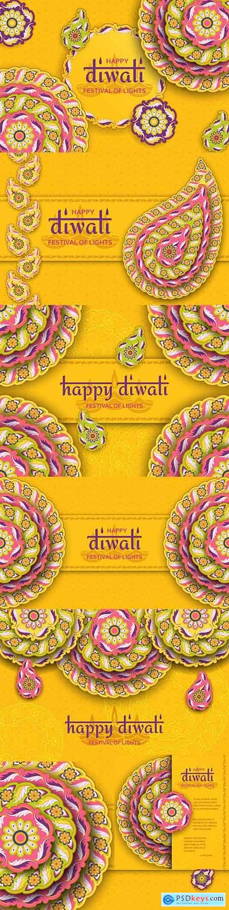 Happy Diwali festival lights yellow template with floral pattern