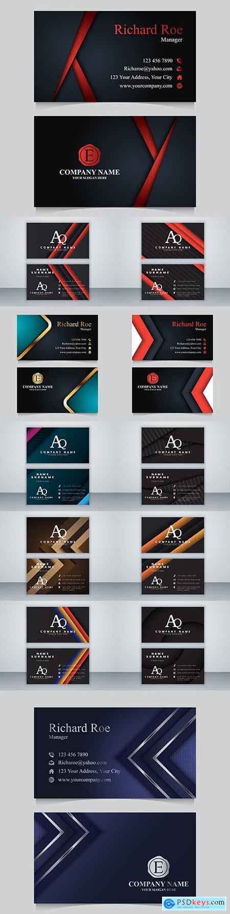 Business card template design on dark background 2