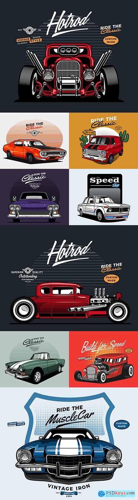 Retro car brand collection illustrations