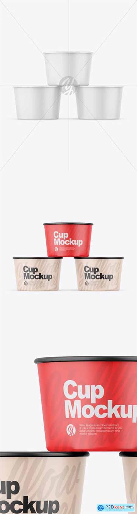 Three Matte Cups Mockup 55887