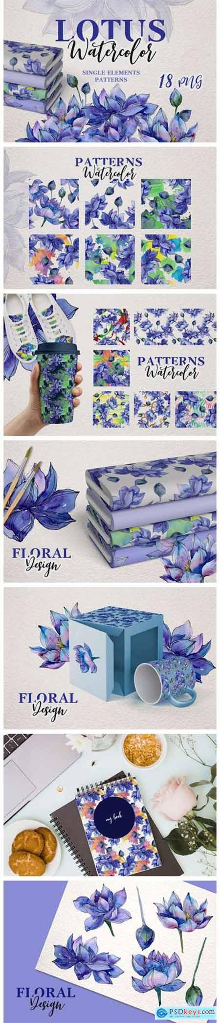 Watercolor Lotus Set 4750433