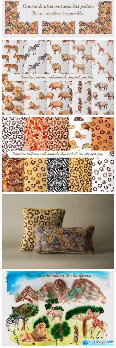 Watercolor African Animals 4738975