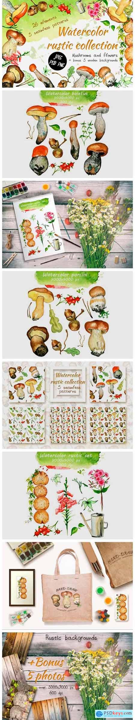 Watercolor Rustic Set with Mushrooms 4954782