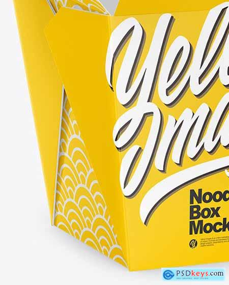 Opened Glossy Paper Noodles Box Mockup 66720