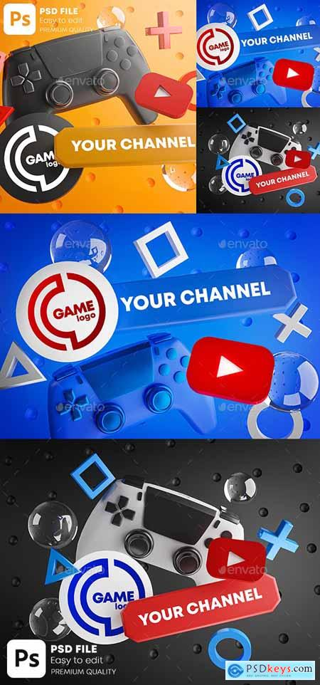 Gaming Youtube Channel Logo Promotion Mockup Pack 28419187