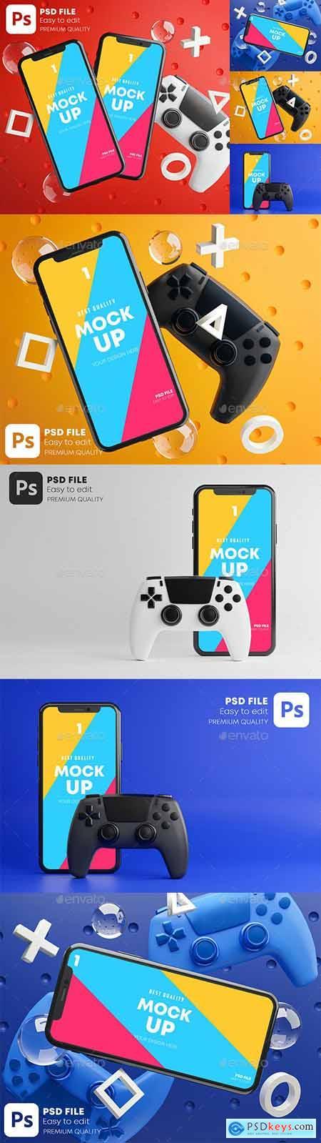 Smartphone Mobile Gaming Mockup Gamepad Pack 28419233