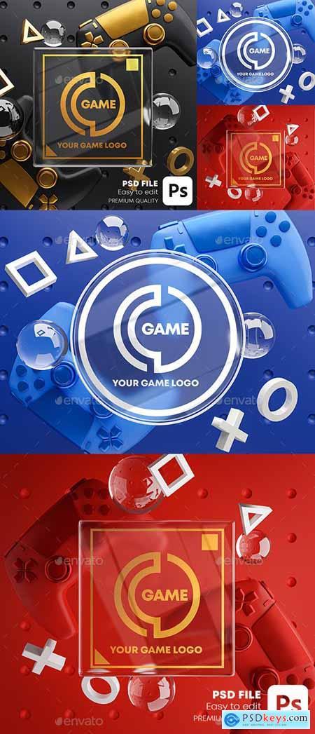 Gaming Glass Logo Mockup Gamepad Pack 28419158