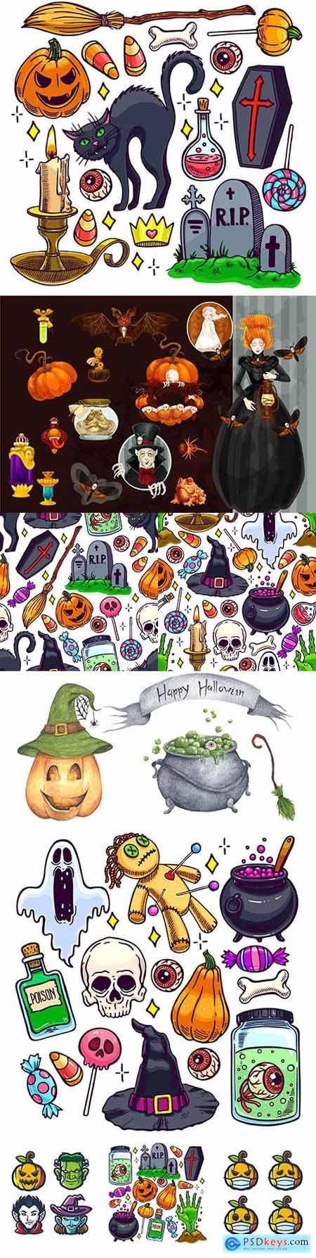 Halloween holiday elements and items painted illustration