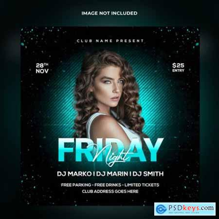 Friday night party social media post template