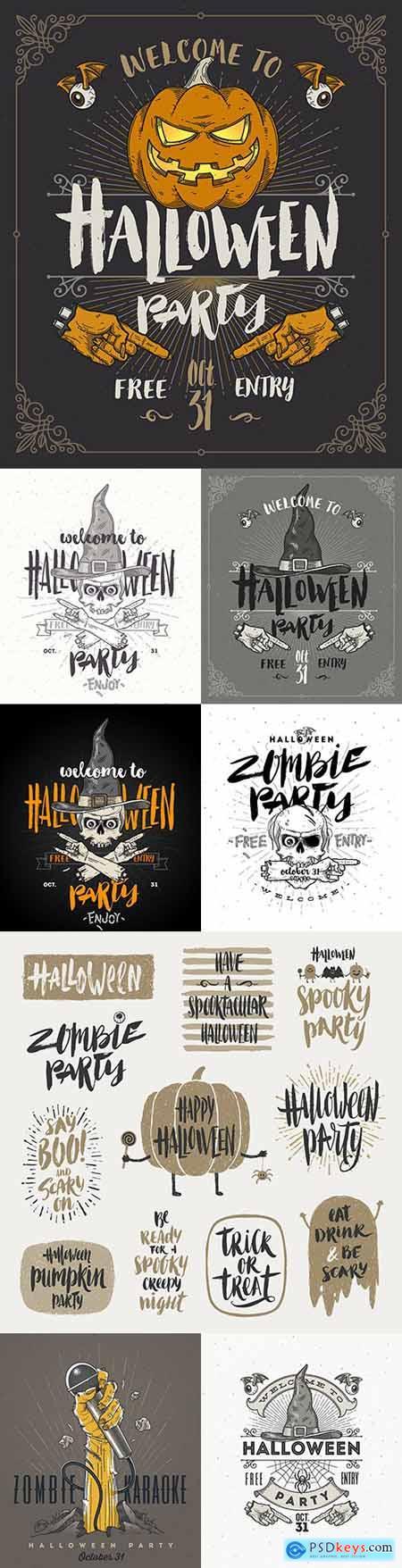 Halloween poster or invitation vintage design illustration