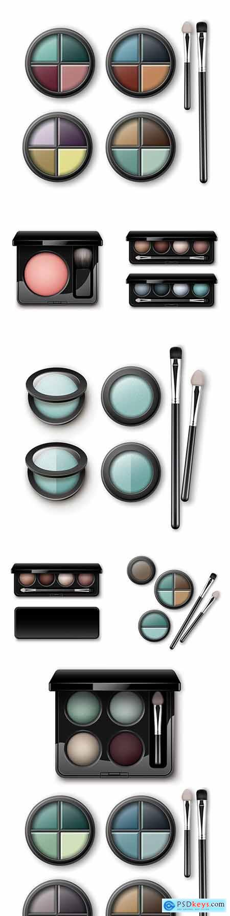 Multi-colored set shadows in black case and makeup brushes