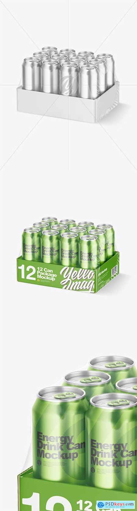 Transparent Pack with 12 Metallic Cans Mockup 63755