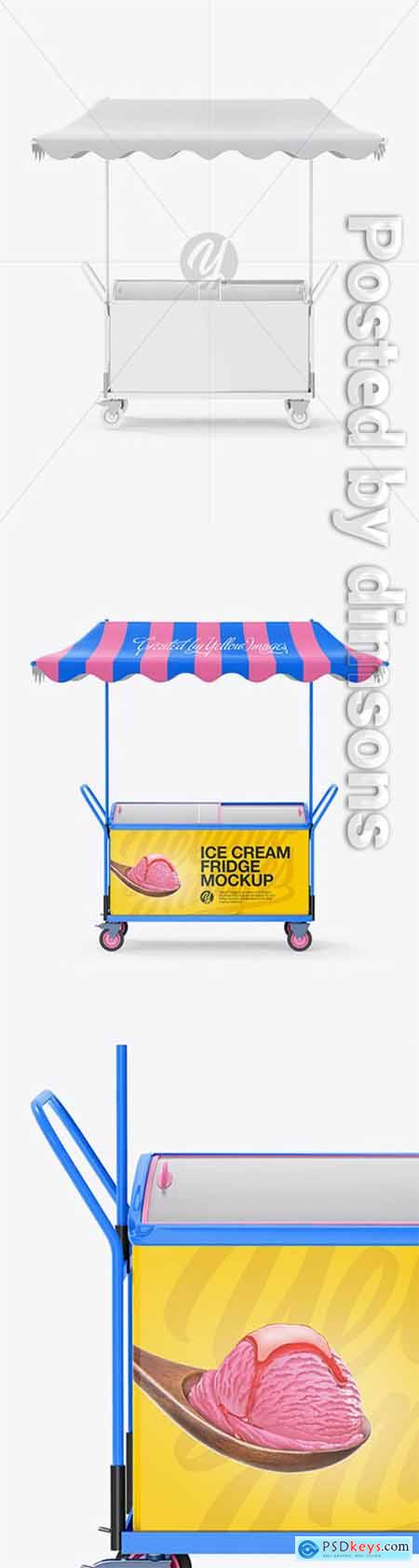 Ice Cream Fridge With Awning Mockup - Front View 19563