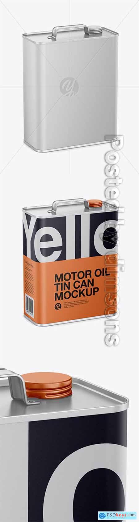 Matte Motor Oil Tin Can Mockup - Half Side View (High-Angle Shot) 28450