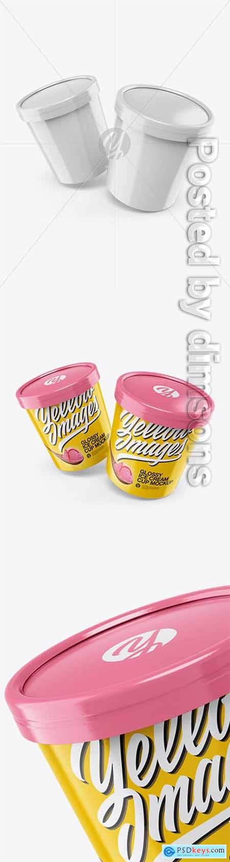 Two Glossy Ice Cream Cups Mockup 34190