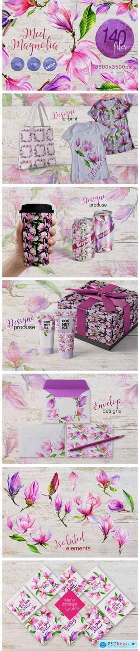 Meet Magnolia Watercolor Flower Set 4751026