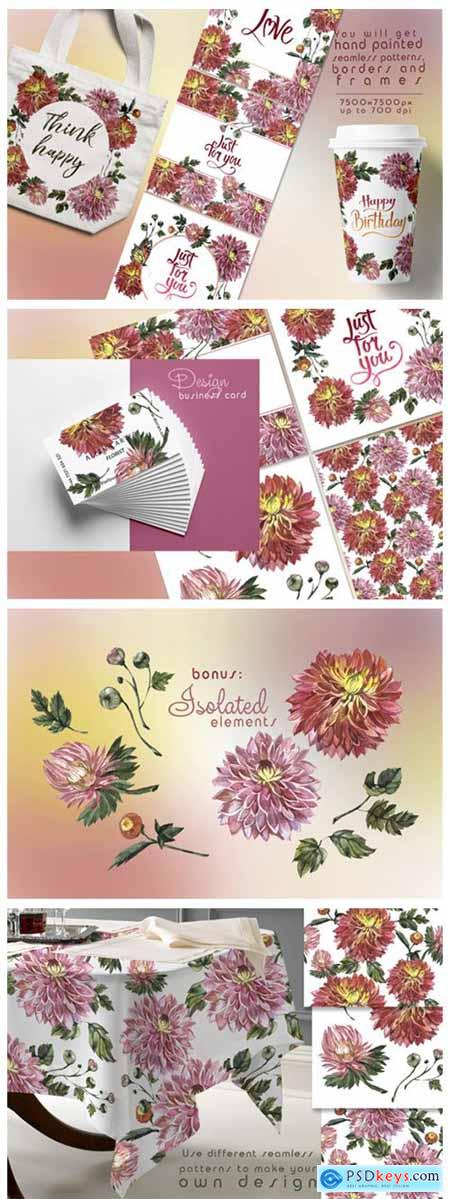 Charming Asters Watercolor Set 4750184