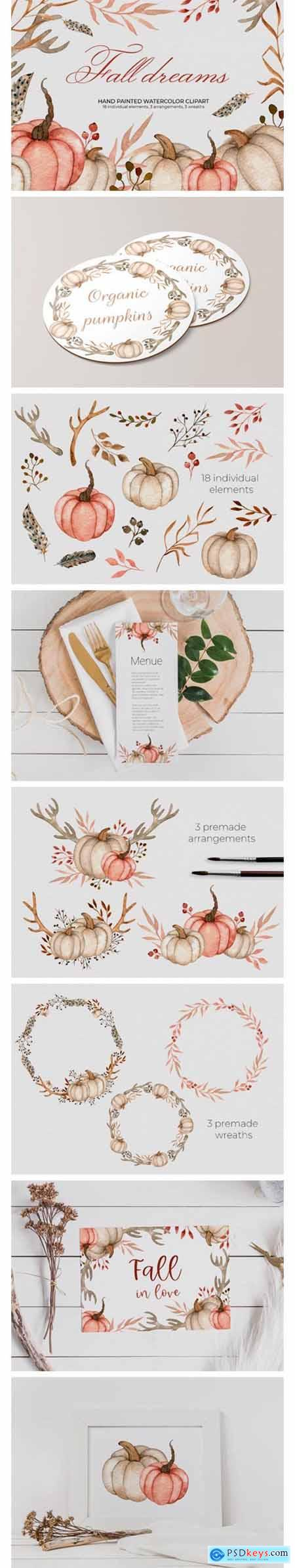 Watercolor Pumpkins, Antlers, Feathers 4969654