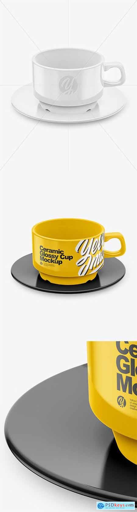 Glossy Cup & Saucer Mockup (High-Angle Shot) 65155