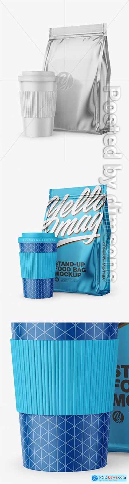 Metallic Stand-Up Bag with Coffee Cup Mockup 65091