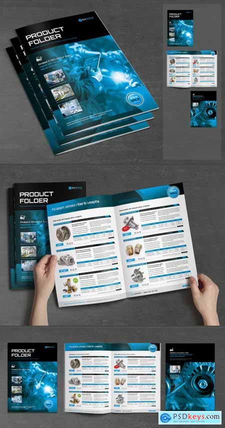 Product Specification Sheet Layout with Blue and Black Design 375187669