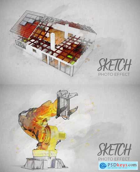 Photo Sketch Effect Mockup 375653253