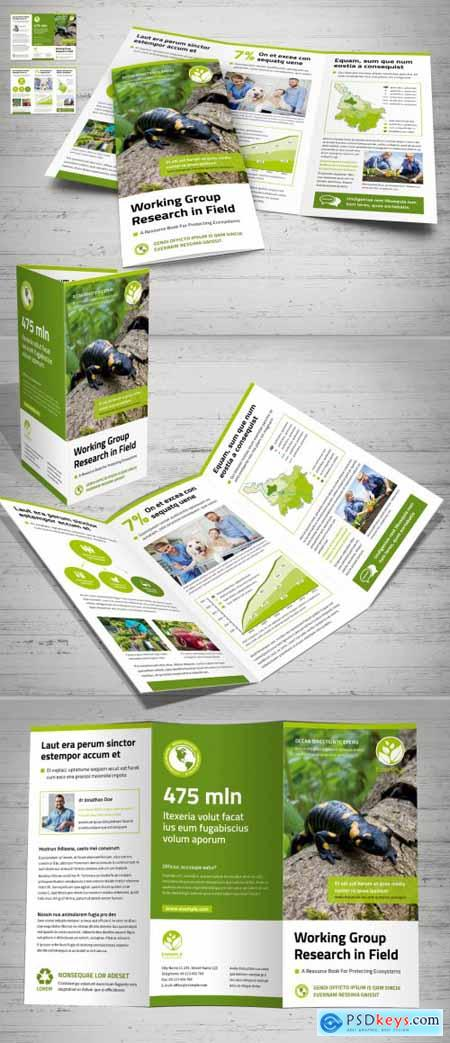 Tri-Fold Layout with White and Green Design 375187854