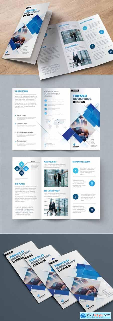 Blue Trifold Brochure Layout with Rectangle Elements 374944668