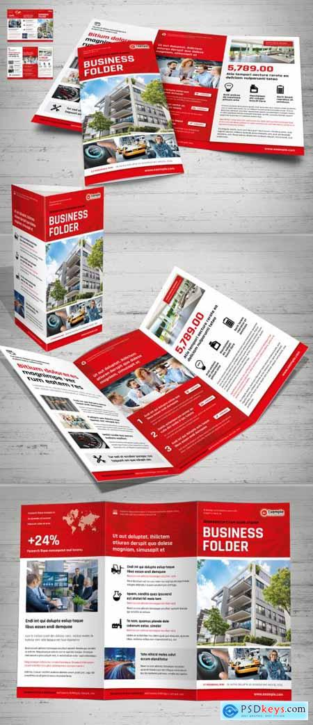 Tri-Fold Layout with White and Red Design 375187778