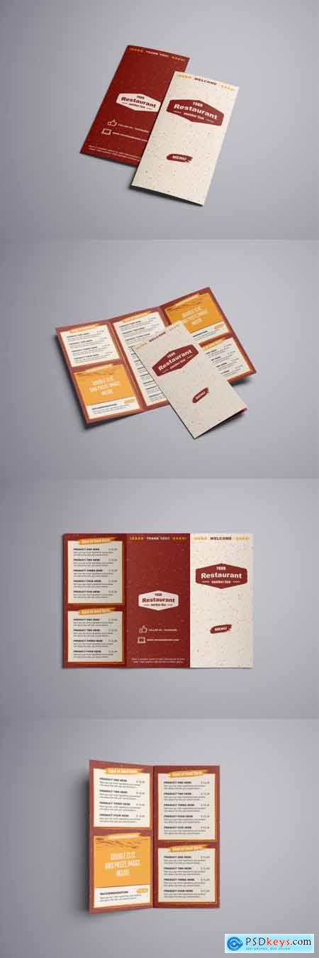Rustic Food Drink Menu Trifold Layout 377175535