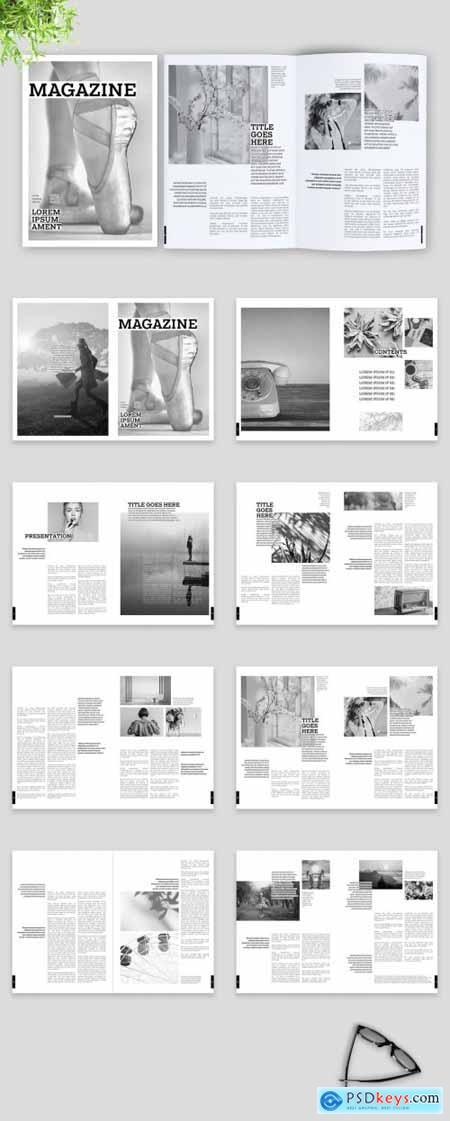 Black and White Elegant Magazine Layout 375647931