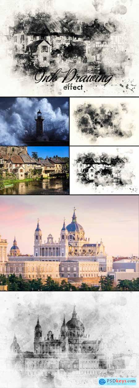 Ink Painting Photo Effect 377177269