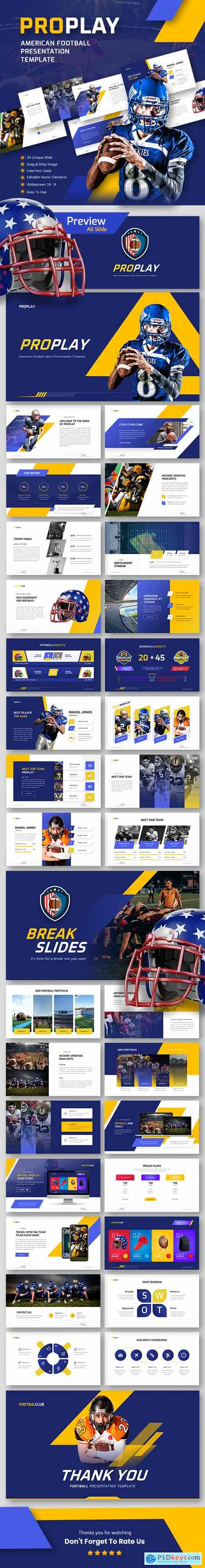 Proplay - American Football Sport PowerPoint Presentation Template 26168706