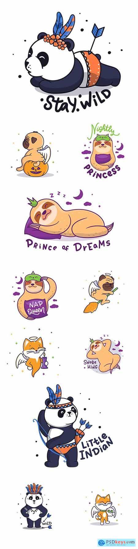 Panda and lazy funny cartoon characters hand-drawn illustrations